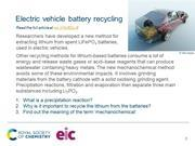 Preview slide on recycling lithium from electric vehicle batteries