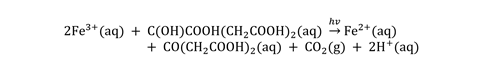 Equation for hotochemical redox reaction wherein iron(III) is reduced to iron(II), while the citrate is oxidised to 3-oxopentanedioic acid