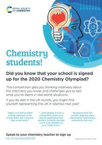 Poster to encourage students to participate in the 2020 Chemistry Olympiad